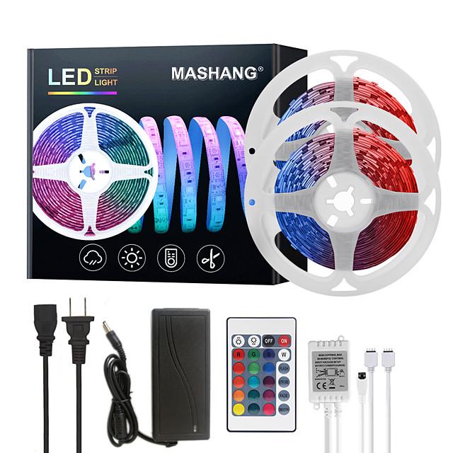 MASHANG LED Strip Lights 32.8ft 10M RGB Tiktok Lights 300LEDs SMD 5050 with 24 Keys IR Remote Controller and 100-240V Adapter for Home Bedroom Kitchen TV Back Lights DIY Deco