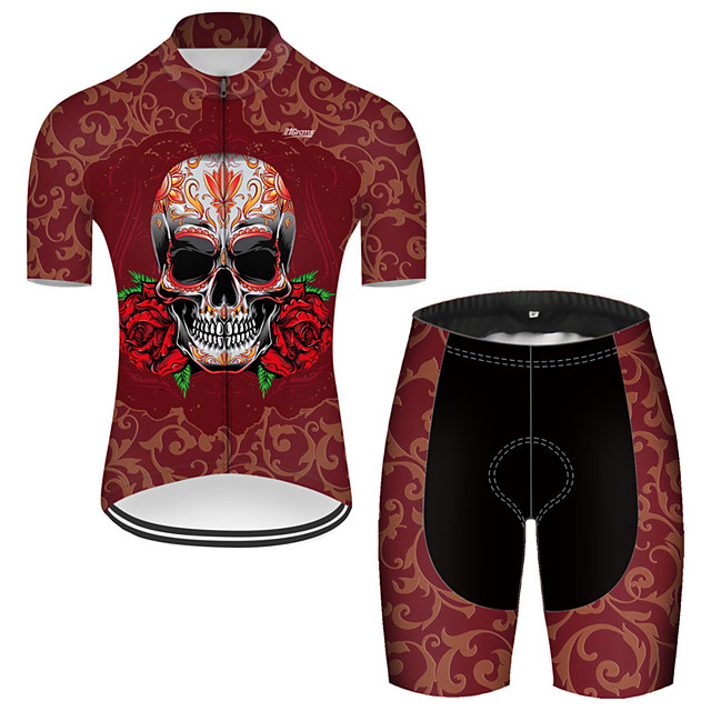 21Grams Men's Short Sleeve Cycling Jersey with Shorts Nylon Polyester Red Novelty Skull Floral Botanical Bike Clothing Suit Breathable 3D Pad Quick Dry Ultraviolet Resistant Reflective Strips Sports