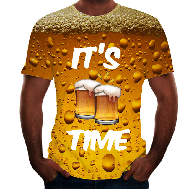 Men's Graphic Beer T shirt Print Short Sleeve Daily Tops Basic Round Neck Black Blue Red / Summer