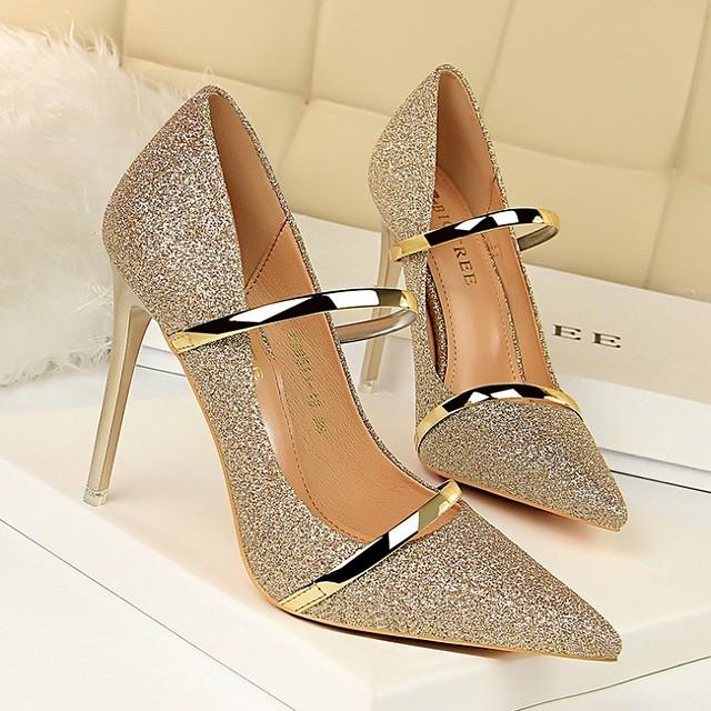 Women's Heels Summer Stiletto Heel Pointed Toe Daily PU White / Black / Champagne