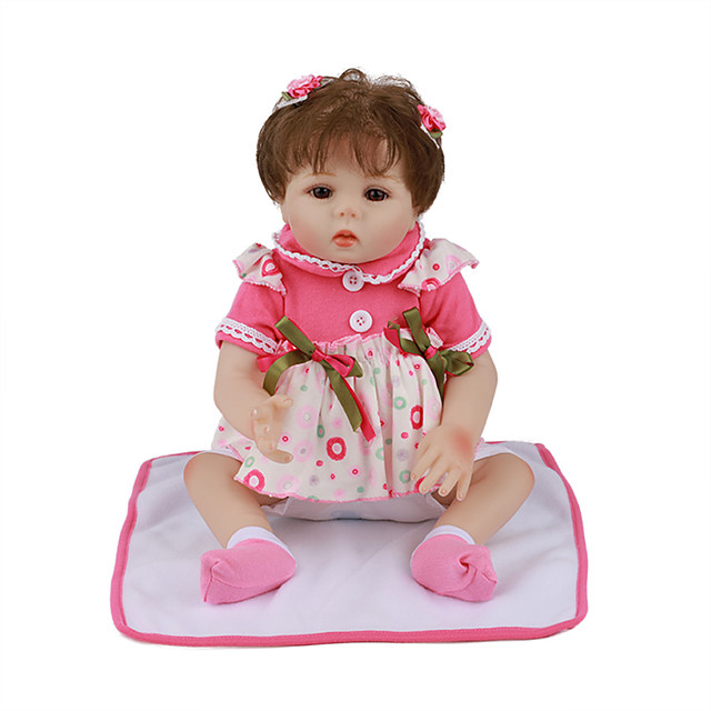 FeelWind 18 inch Reborn Doll Baby & Toddler Toy Reborn Toddler Doll Baby Girl Gift Cute Lovely Parent-Child Interaction Tipped and Sealed Nails Full Body Silicone LV020 with Clothes and Accessories