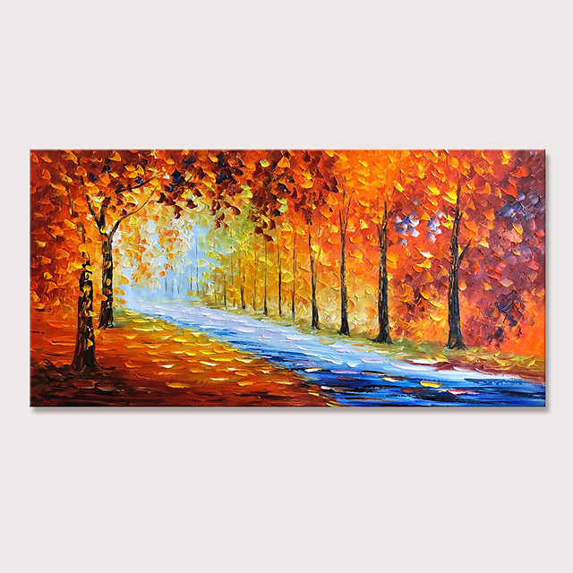 Mintura Large Size Hand Painted Abstract Knifr Trees Landscape Oil Paintings On Canvas Modern Posters Wall Picture For Home Decoration No Framed