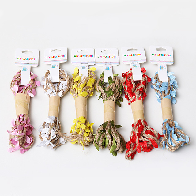 1pc Holiday Decorations Party Garden Wedding Decoration Leaf Hemp Rope Braid With Leaves 200 cm