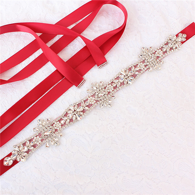 Satin / Tulle Wedding / Party / Evening Sash With Imitation Pearl / Belt / Appliques Women's Sashes