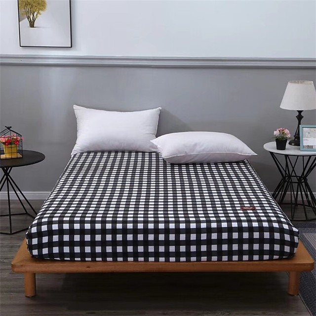 Grid Stripe Fitted Sheet Bedding /Wrinkle Fade Stain Resistant / 1 Single Fitted Sheet Only