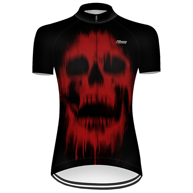 21Grams Women's Short Sleeve Cycling Jersey Nylon Polyester Black / Red Novelty Skull Floral Botanical Bike Jersey Top Mountain Bike MTB Road Bike Cycling Breathable Quick Dry Ultraviolet Resistant