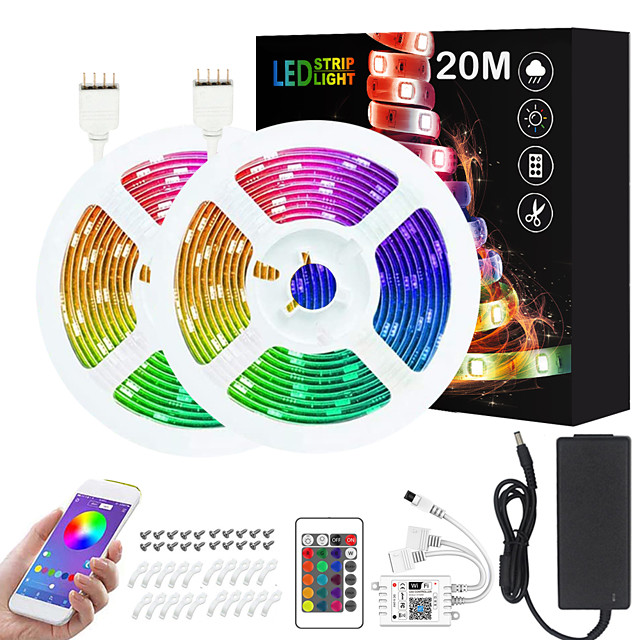 2x10M 24V Intelligent Dimming App Control Flexible Led Strip Lights 5050 Waterproof RGB SMD 600 LEDs IR 24 Key Controller with Installation Package  Kit DC24V