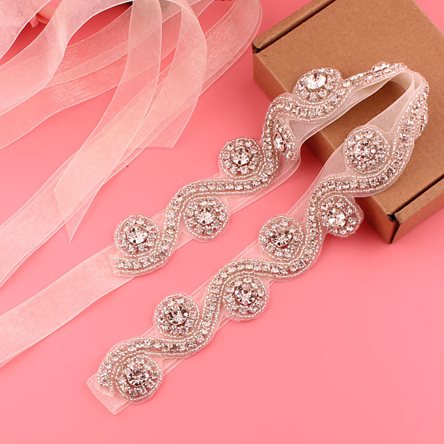 Satin / Tulle Wedding / Party / Evening Sash With Belt / Appliques / Crystals / Rhinestones Women's Sashes