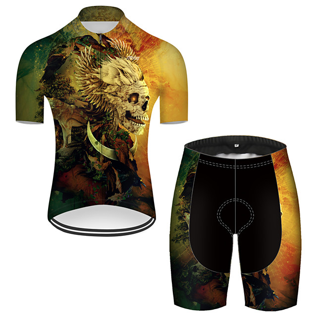 21Grams Men's Short Sleeve Cycling Jersey with Shorts Nylon Polyester Black / Yellow 3D Novelty Skull Bike Clothing Suit Breathable 3D Pad Quick Dry Ultraviolet Resistant Reflective Strips Sports 3D