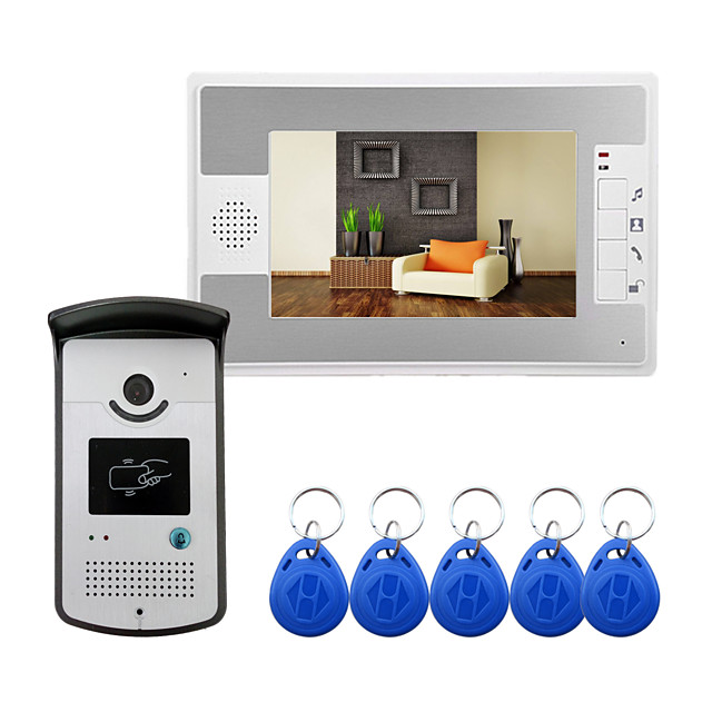 Wired 7 Inch Hands-free Video Doorphone with RFID Ulock Video Intercom