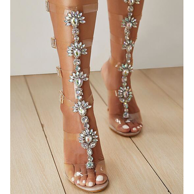 Women's Sandals Clear / Transparent / PVC Spring Summer Pumps Peep Toe Daily Rhinestone PU Pink