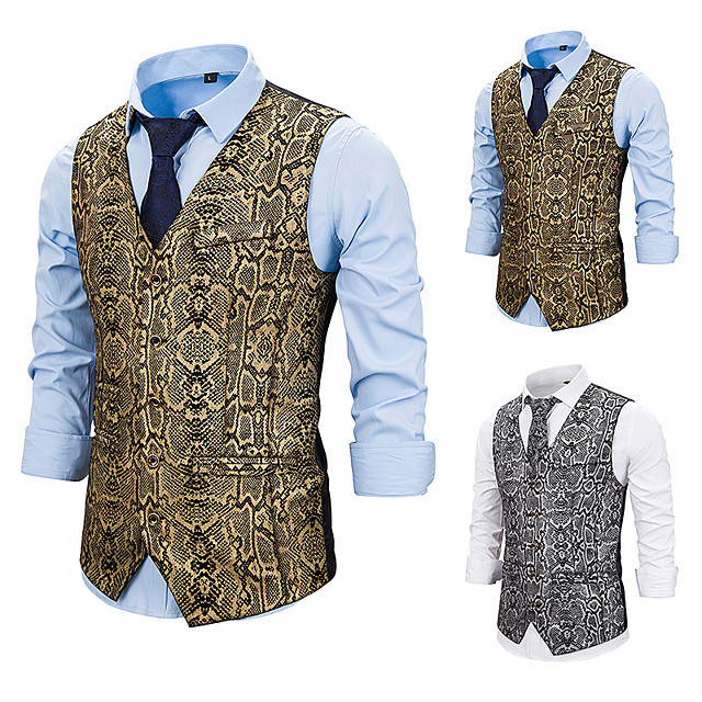 Plague Doctor Vintage Gothic Steampunk Masquerade Vest Waistcoat Men's Snakeskin Costume Golden / Silver Vintage Cosplay Event / Party Sleeveless