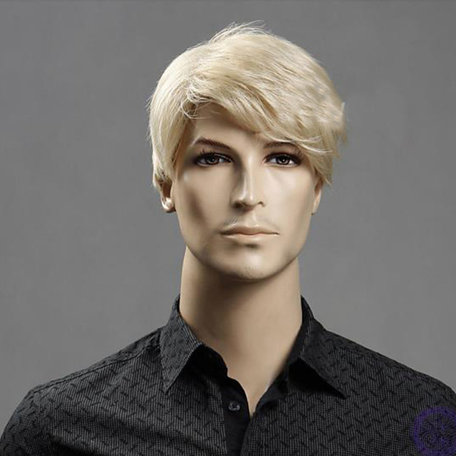 Synthetic Wig kinky Straight Pixie Cut Wig Short Light golden Synthetic Hair 12 inch Men's Fashionable Design Classic Synthetic Blonde