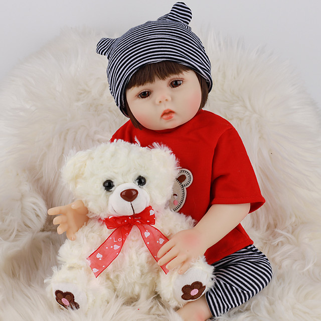 FeelWind 18 inch Reborn Doll Baby & Toddler Toy Reborn Toddler Doll Baby Boy Gift Cute Lovely Parent-Child Interaction Tipped and Sealed Nails Full Body Silicone LV013 with Clothes and Accessories