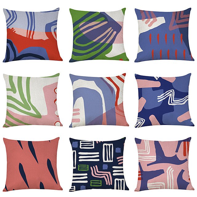9 pcs Linen Pillow Cover, Geometric Geometic Casual Modern Square Traditional Classic