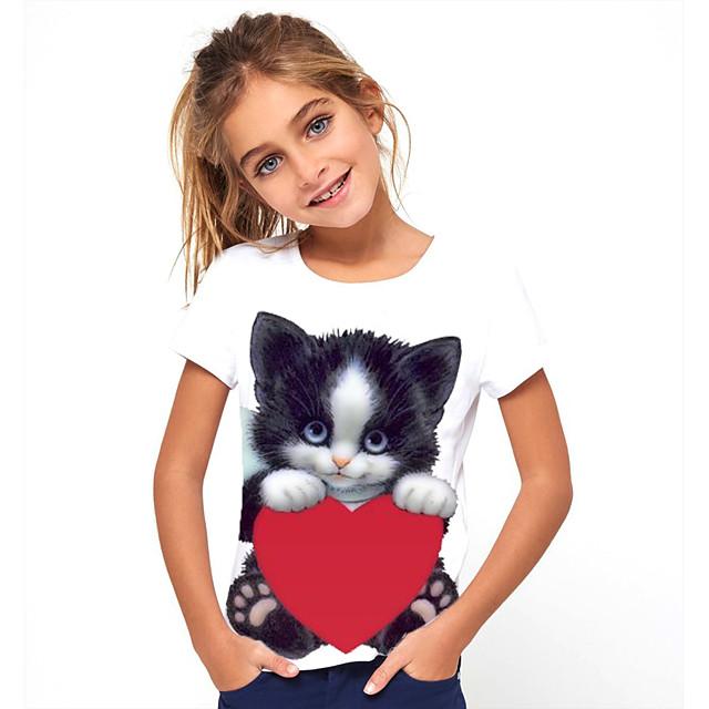 Kids Girls' T shirt Tee Short Sleeve Butterfly Cat Horse Animal 3D Print Black And White Light Yellow Gray Black Children Tops Basic Cute School
