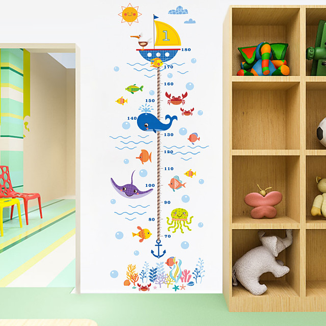 Cartoon Animals Crab Shark Whale Height Measure Wall Sticker For Kids Rooms Growth Chart Nursery Room Decor Wall Art 2pcs