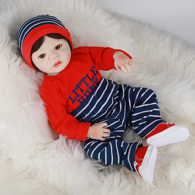 FeelWind 22 inch Reborn Doll Baby & Toddler Toy Reborn Toddler Doll Baby Boy Gift Cute Lovely Parent-Child Interaction Tipped and Sealed Nails Full Body Silicone LV060 with Clothes and Accessories