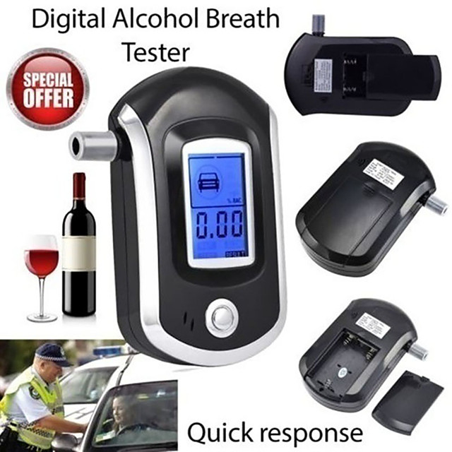 Professional Digital Breath Alcohol Tester Breathalyzer with LCD Dispaly with 5 Mouthpieces AT6000 Bafometro Alcoholimetro
