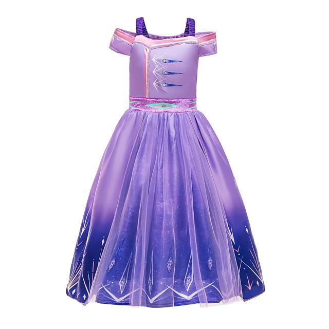 Frozen Princess Dress Cosplay Costume Girls' Movie Cosplay Halloween Christmas Purple Dress Christmas Halloween / Sleeveless