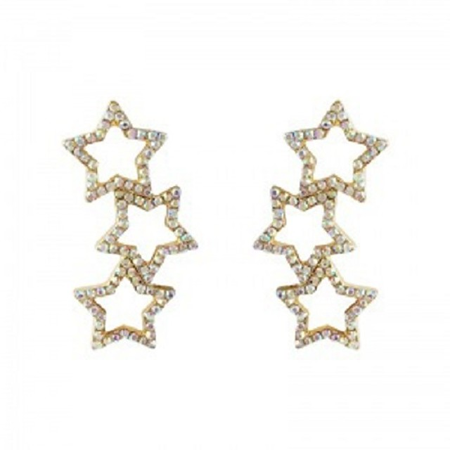Women's Crystal Stud Earrings Hollow Out Star Trendy Sweet Earrings Jewelry Rainbow For Party Daily Bar Festival 1 Pair