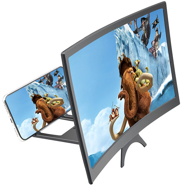 Screen Magnifier 3D Phone Screen Magnifier 12 inch Foldable Compatible with Any Smartphones Phone Stand with Screen Amplifier Curve Screen 3-5 for Movies Videos Gaming Magnifiers / Magnifier Glasses