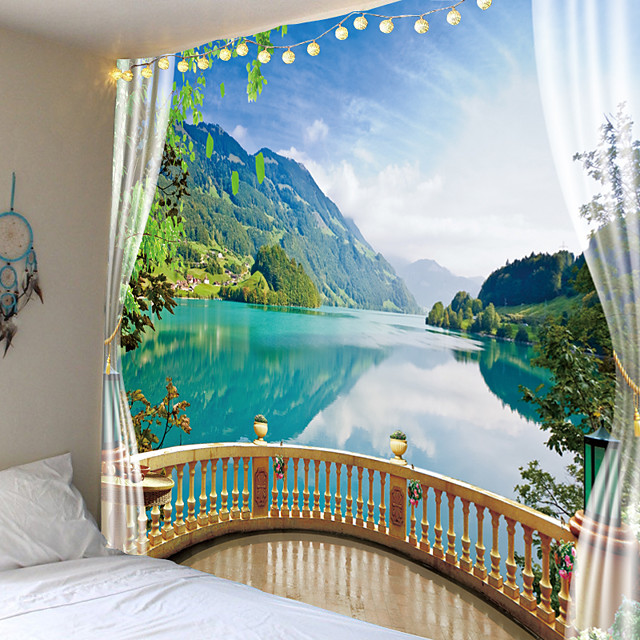 Wall Tapestry Art Decor Blanket Curtain Picnic Tablecloth Hanging Home Bedroom Living Room Dorm Decoration Holiday Vacation Nature Landscape Lake Mountain