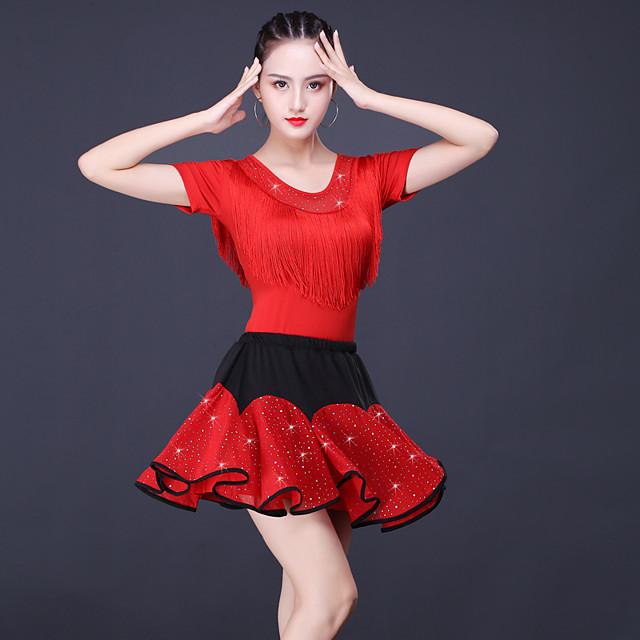 Latin Dance Skirts Tassel Women's Training Performance Short Sleeve Natural Tulle Milk Fiber