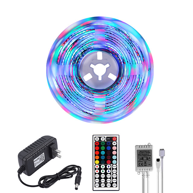 MASHANG Bright RGBW LED Strip Lights 5M RGBW Tiktok Lights 1170LEDs SMD 2835 with 44 Keys IR Remote Controller and 100-240V Adapter for Home Bedroom Kitchen TV Back Lights DIY Deco