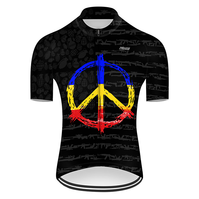 21Grams Men's Short Sleeve Cycling Jersey Nylon Polyester Black / Blue Gradient Peace & Love Bike Jersey Top Mountain Bike MTB Road Bike Cycling Breathable Quick Dry Ultraviolet Resistant Sports