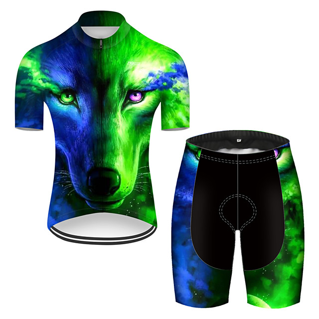 21Grams Men's Short Sleeve Cycling Jersey with Shorts Nylon Polyester Black / Green Gradient Animal Wolf Bike Clothing Suit Breathable 3D Pad Quick Dry Ultraviolet Resistant Reflective Strips Sports