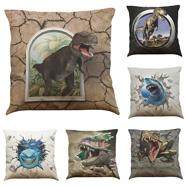 9 pcs Linen Pillow Cover, 3D Dinosaur Modern Square Cover