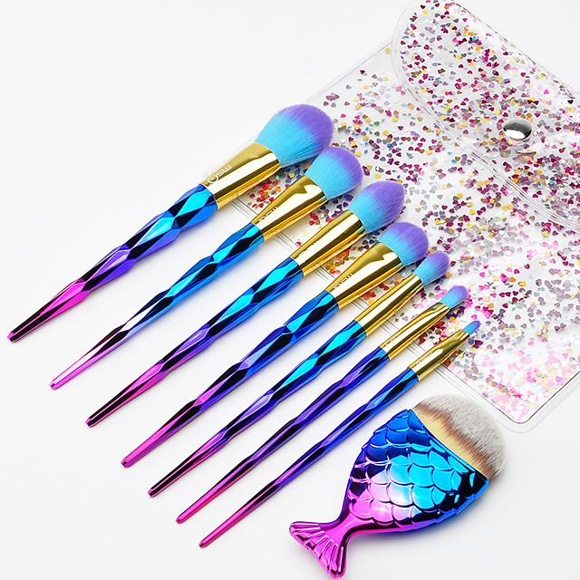 Professional Makeup Brushes 8pcs Professional Full Coverage Comfy Artificial Fibre Brush Plastic for Blush Brush Foundation Brush Makeup Brush Eyeshadow Brush