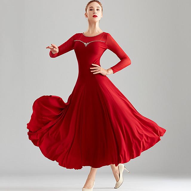 Ballroom Dance Dress Split Joint Crystals / Rhinestones Women's Performance Long Sleeve Crystal Cotton Mesh