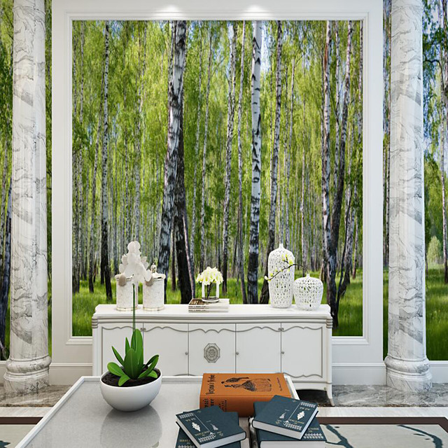 Custom Self-adhesive Mural Wallpaper Birch Forest Suitable for Background Wall Living Room Coffee Shop Restaurant Hotel Wall Decoration Art Room Wallcovering