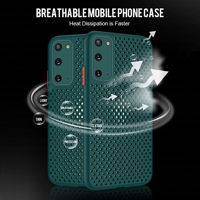 Heat Dissipation Mesh Breathable Cooling Phone Case For Samsung A71 A51 A41  A01 A10S A20S A30S A50S A50 Shockproof Soft TPU Plain Color Cover For Galaxy S20 S20 Plus S20Ultra