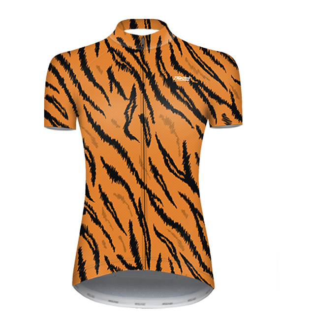 21Grams Women's Short Sleeve Cycling Jersey Nylon Polyester Black / Orange Stripes Leaf Bike Jersey Top Mountain Bike MTB Road Bike Cycling Breathable Quick Dry Ultraviolet Resistant Sports Clothing