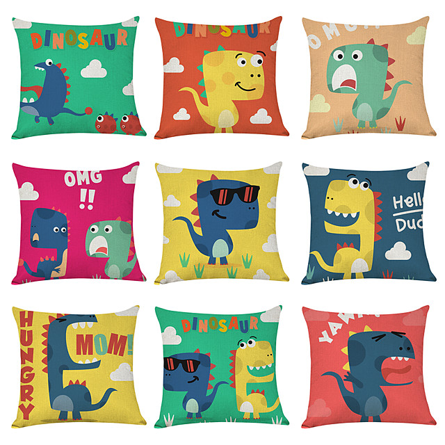 9 pcs Linen Pillow Cover, Cartoon Dinosaur Casual Modern Square Traditional Classic