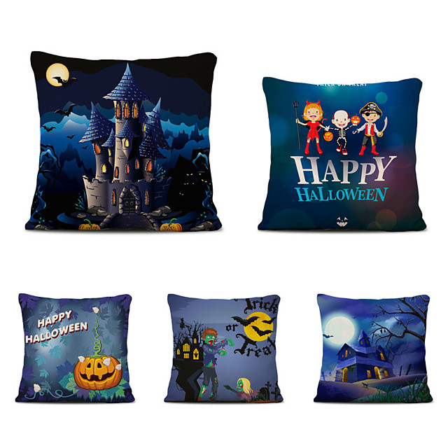 Set of 5 Linen Throw Pillow Cartoon Halloween Square Decorative Cases Sofa Cushion Covers 18x18