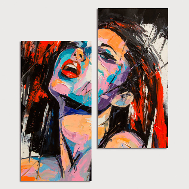 Hand Painted Canvas Oilpainting Abstract People by Knife Set of 2 Home Decoration with Frame Painting Ready to Hang