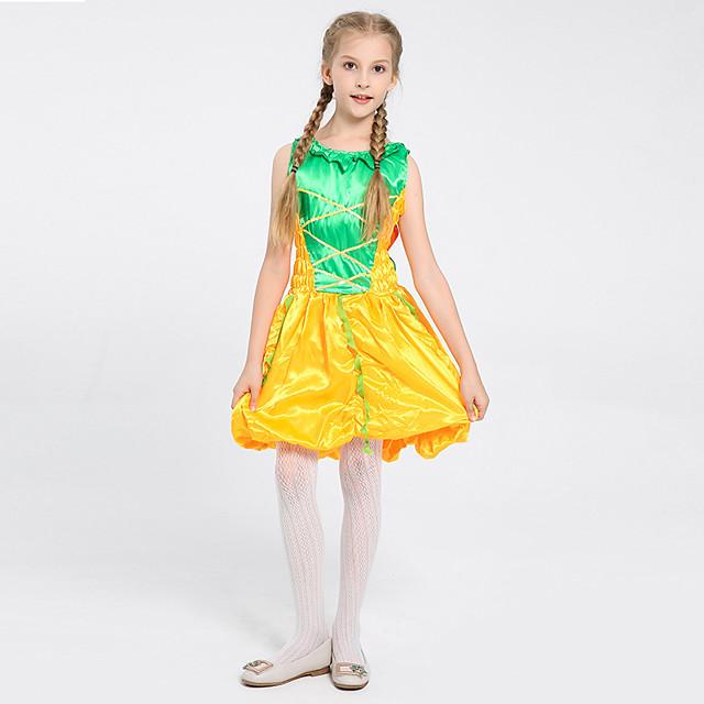 Princess Princess Tiana Dress Flower Girl Dress Girls' Movie Cosplay A-Line Slip Yellow Dress Children's Day Masquerade Polyester