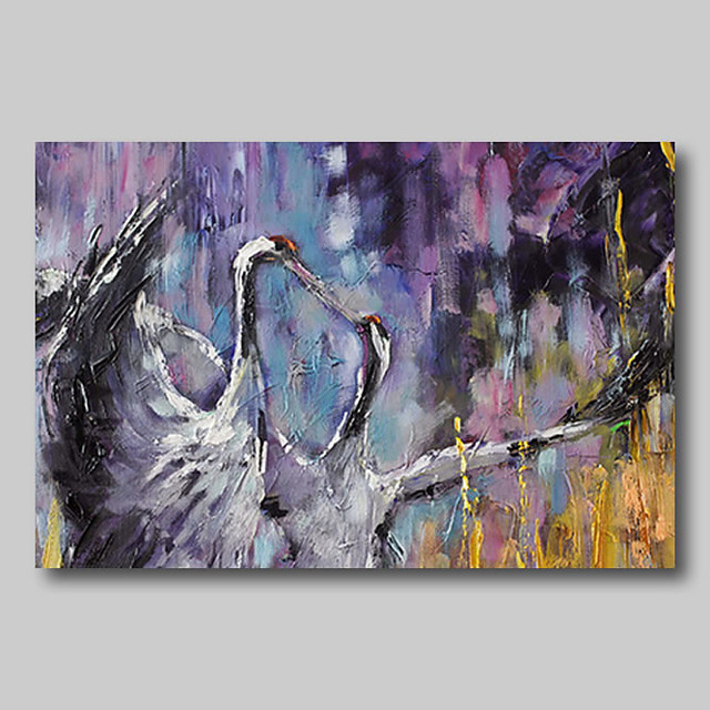 Oil Painting Hand Painted - Abstract Abstract Landscape Comtemporary Modern Rolled Canvas Birds