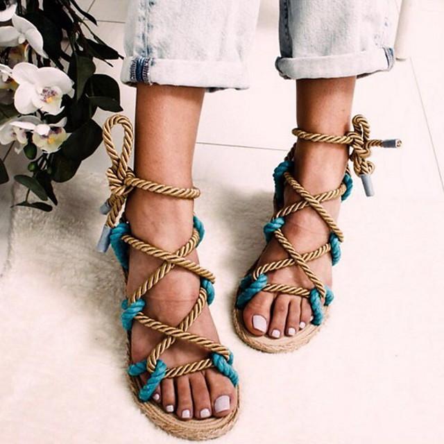 Women's Sandals Summer Flat Heel Round Toe Daily Elastic Fabric Black / Yellow / Pink