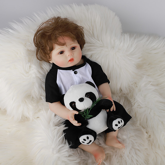FeelWind 18 inch Reborn Doll Baby & Toddler Toy Reborn Toddler Doll Baby Boy Gift Cute Lovely Parent-Child Interaction Tipped and Sealed Nails Full Body Silicone LV057 with Clothes and Accessories