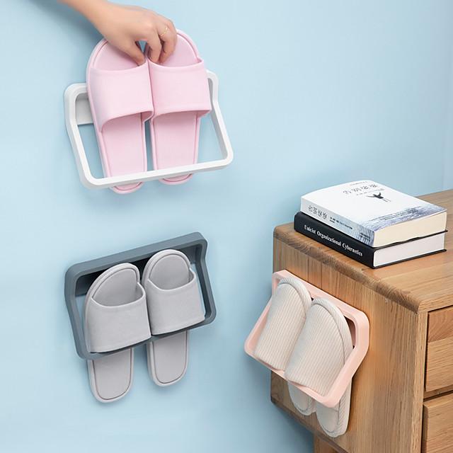 Bathroom Slippers Frame On the Wall From Stiletto Shoe Rack Shelf Toilet Receive Artifact Rack Shelf Hanging Drop Color Random