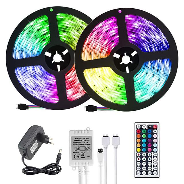 (2*5M)10M 32.8ft LED Light Strips RGB Tiktok Lights 2835 600leds 8mm Strips Lighting Flexible Color Changing with 44 Key IR Remote Ideal for Home Kitchen Christmas TV Back Lights DC 12V