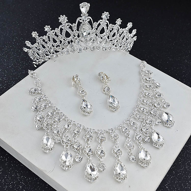 Women's Crystal Bridal Jewelry Sets Transparent Drop Flower Elegant Vintage Earrings Jewelry White For Wedding Party 1 set
