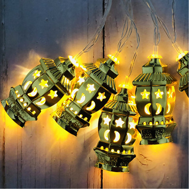 3M 20LEDs Muslim Ramadan String Light Wrought Iron Palace Lantern Garland String Lights Section Three 5th Batteries Operated Holiday Party Xmas Lantern Light Without Battery