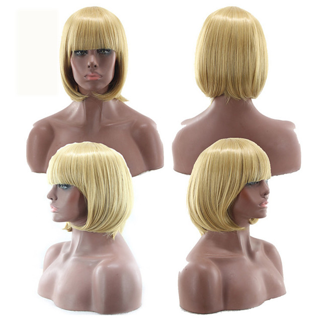 Synthetic Wig kinky Straight With Bangs Wig Short Light golden Light Blonde Light Brown Creamy-white Pink+Red Synthetic Hair 12 inch Women's Fashionable Design Classic Women Blonde White