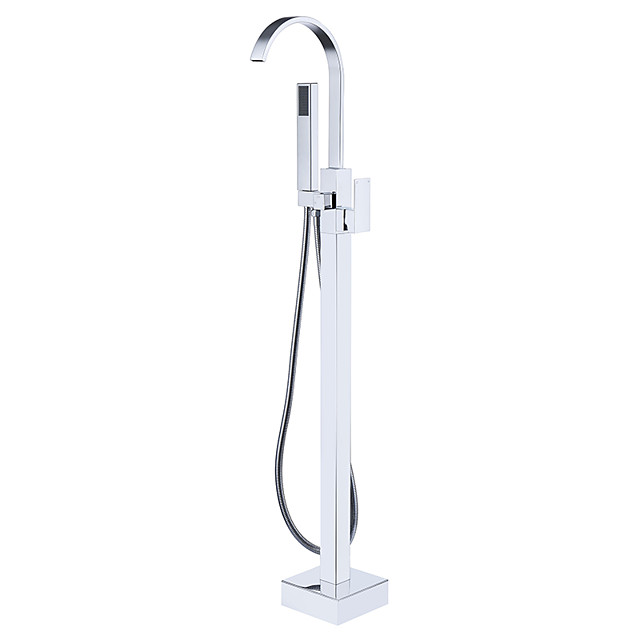 Bathtub Faucet - Contemporary Chrome Free Standing Ceramic Valve Bath Shower Mixer Taps